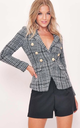 Tweed Fitted Double Breasted Blazer Jacket White Check Black by LILY LULU FASHION Product photo