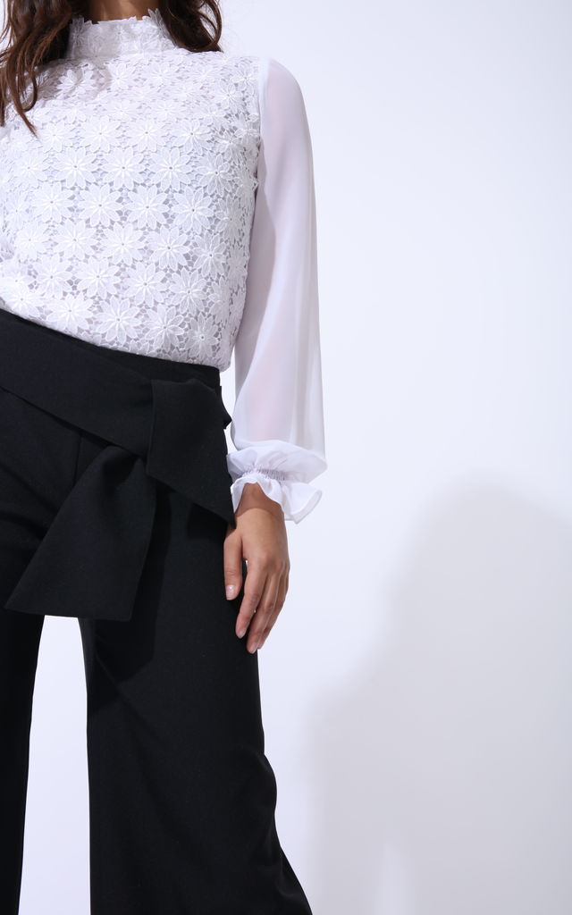 Swan Wide Leg Trousers With Tie Feature In Classic Black by Zalinah White