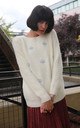Long Sleeve fFuffy Jumper with Cloud Design in White by CY Boutique
