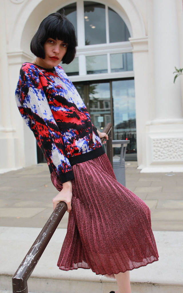 Brushed Wool Blend Jumper with Blue, Red and Black Abstract Print by CY Boutique