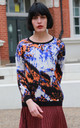 Brushed Wool Blend Jumper with Blue, Orange and Black Abstract Print by CY Boutique