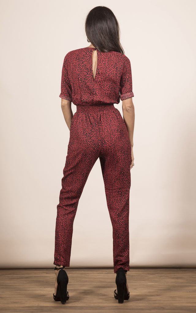 ZION JUMPSUIT IN RED LEOPARD image