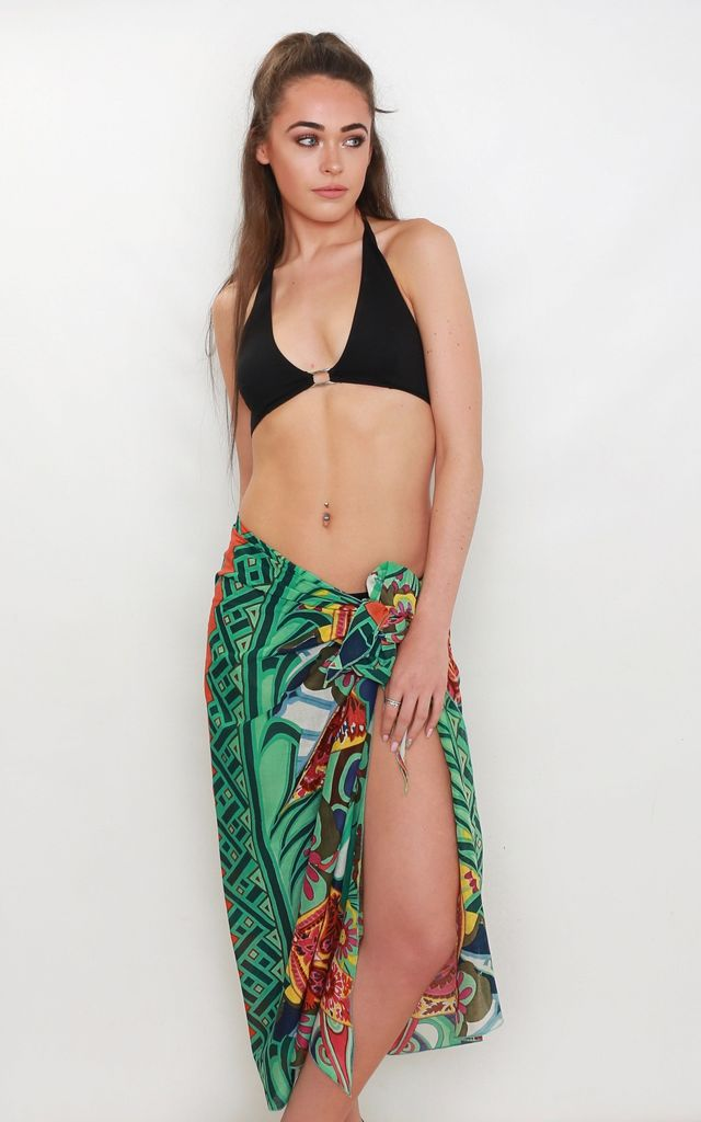 Caribbean Green Print Beach Sarong by Kitten Beachwear