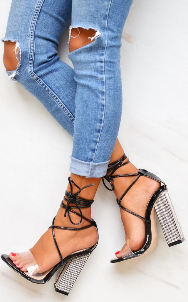 Perspex Lace Up Diamante Heels - Black PU by AJ | VOYAGE