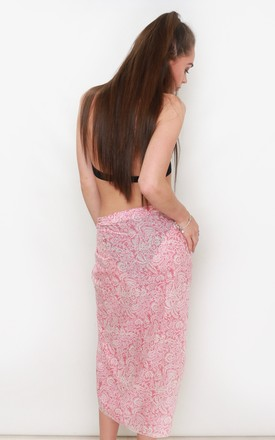 Coral Floral Print Beach Sarong by Kitten Beachwear