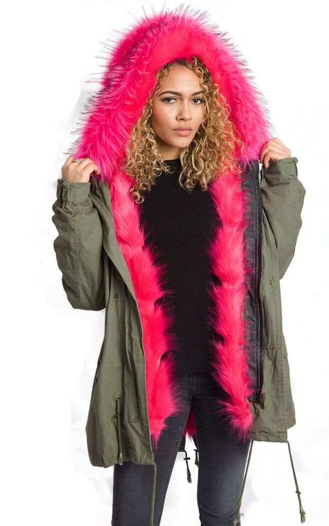 Khaki/Hot Pink Oversized Thick FAUX Raccoon Fur Trim Hooded Parka Coat Jacket by Urban Mist
