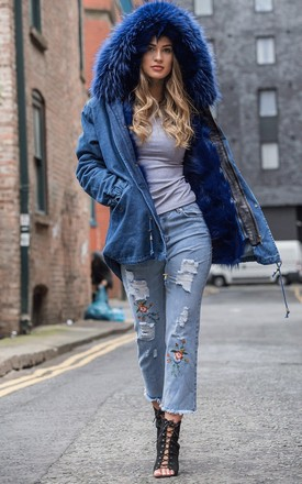 Blue Denim Oversized Thick FAUX Raccoon Fur Trim Hooded Parka Coat Jacket by Urban Mist
