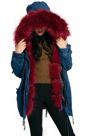 Burgundy Denim Oversized Thick FAUX Raccoon Fur Trim Hooded Parka Coat Jacket by Urban Mist