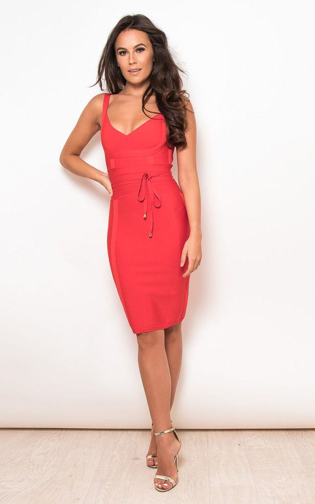 Arabella Tie Waist Bandage Bodycon Dress Red by Girl In Mind