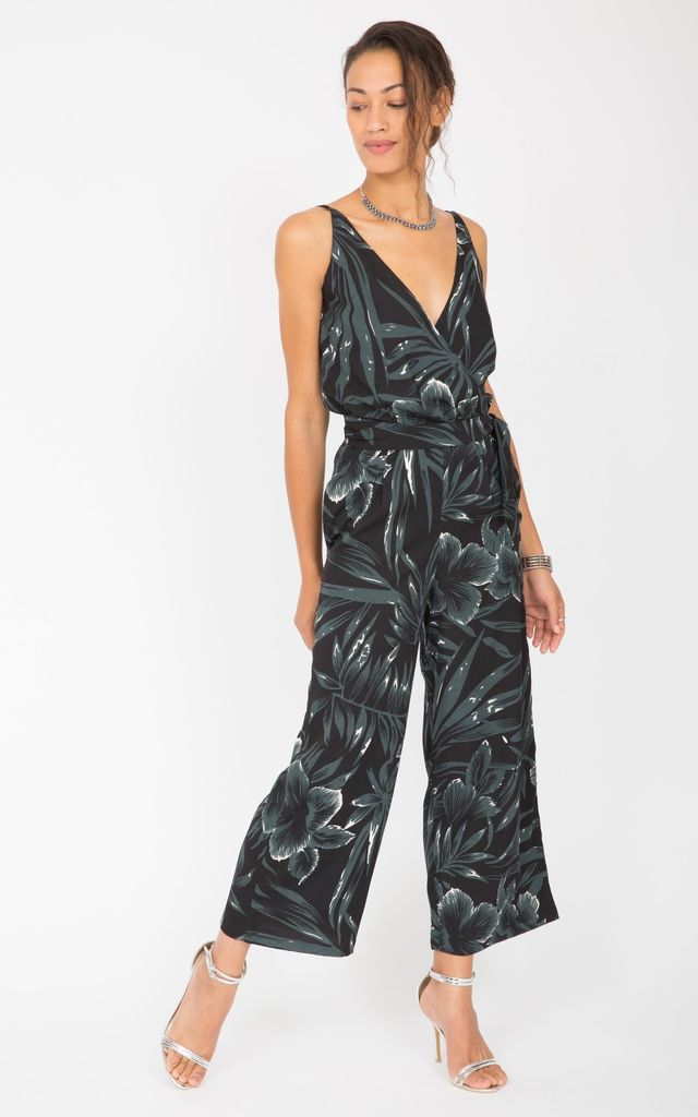 Printed Crossover Culotte Jumpsuit Leaves by likemary