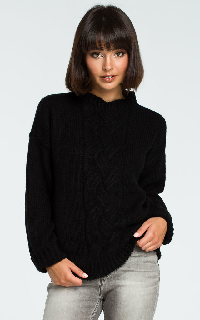 Black Front Braid Classic Jumper by MOE