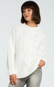 Cableknit jumper in cream by MOE