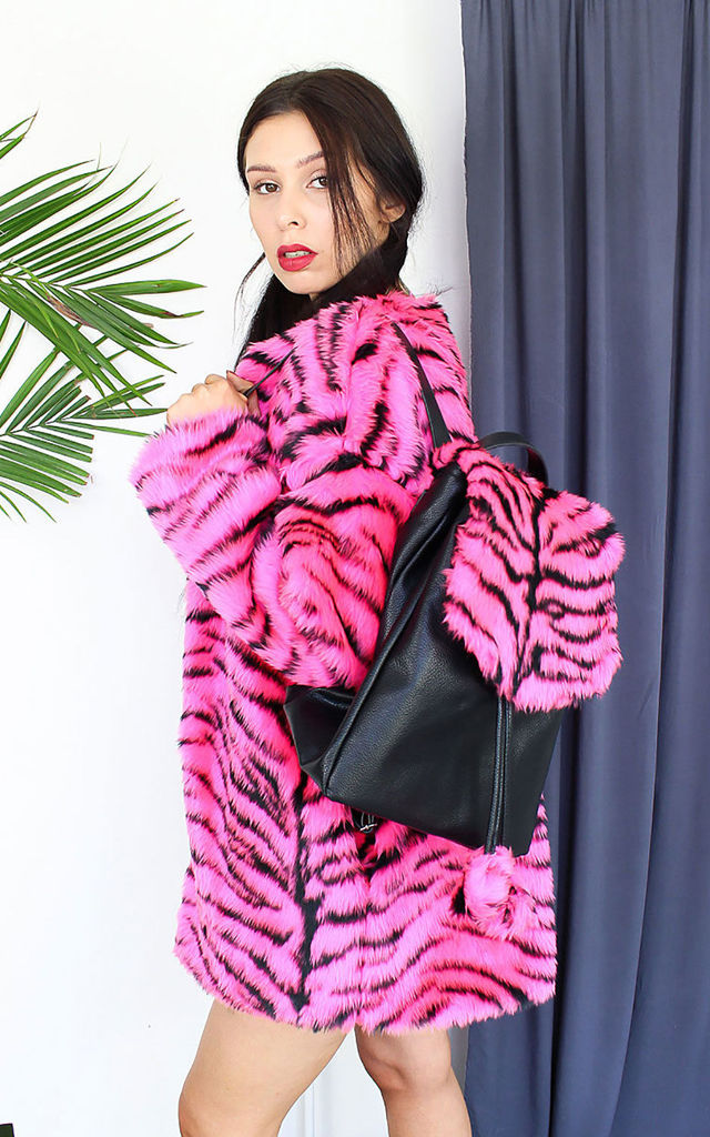 Pink Tiger Faux Fur Backpack by Tallulah's Threads
