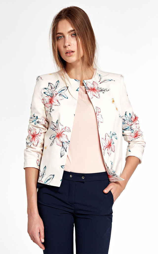 Jacket without a collar - flowers/ecru by so.Nife