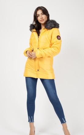 Milna Faux Fur Hood Padded Jacket In Mustard by Vivichi Product photo