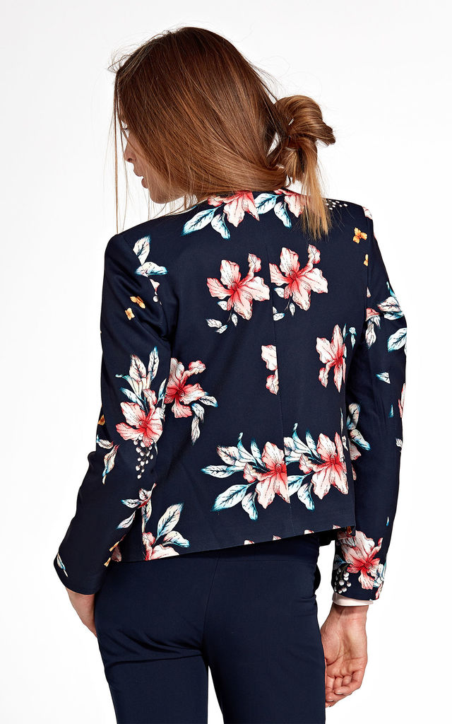 Jacket without a collar - flowers/navy by so.Nife