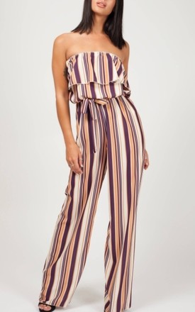 Nylah Striped Frill Bandeau Jumpsuit In Wine by Vivichi Product photo