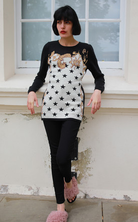 Long Sleeve Jumper with Black and White Star Print with Gold Details by CY Boutique