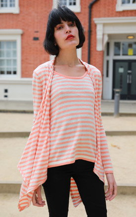 All-In-One Draped Waterfall Cardigan and Top in Orange Stripe by CY Boutique
