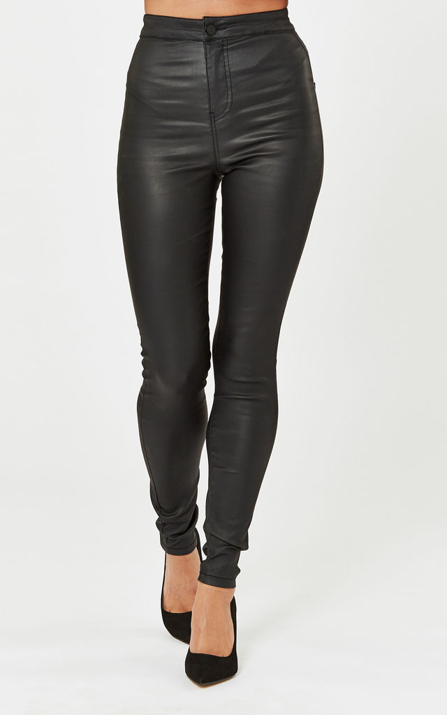 Black Super High Waisted Coated Pants by Noisy May