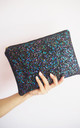 Glitter Clutch Bag in Black Rainbow by Suki Sabur Designs