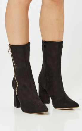 Black Faux Suede Block Heel Boots With Zip Detail by Truffle Collection