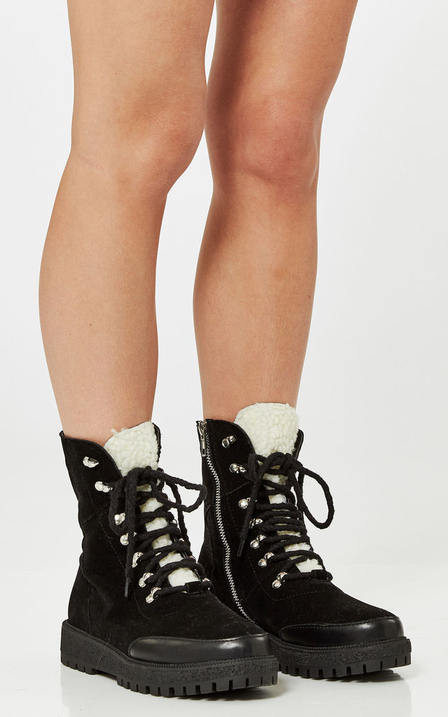 Black Faux Suede Lace Up Boots With Faux Shirling Lining by Truffle Collection