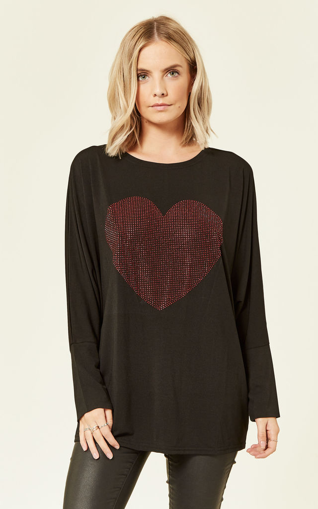 KIARA – Heart Diamante Oversize Top by Blue Vanilla