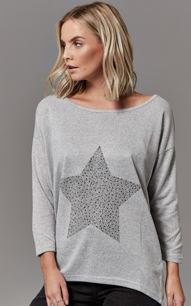 Light grey Melange Star Print Oversized Top by ONLY
