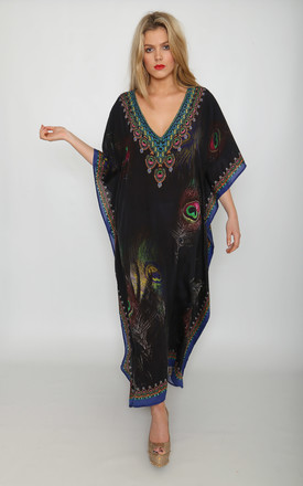 Odette Maxi Kaftan Dress In Grey Peacock Print by Kitten Beachwear Product photo