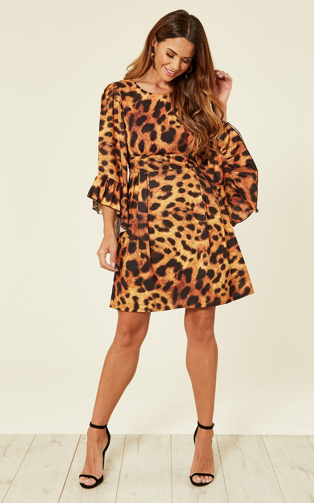 0d43eaeb3acde Rio Leopard Print Bell Sleeve Skater Dress By Lace & Beads
