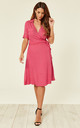 Polka Dot Shirt Wrap Dress Hot Pink by Ruby Rocks