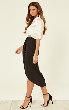 Nova Wrap Midi Skirt in Black by TFNC