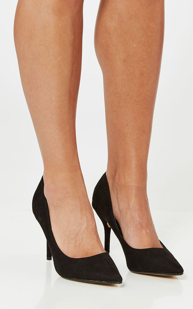 Black Faux Suede Court Shoes by Truffle Collection