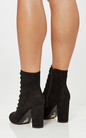 Black Faux Suede Gold Button Detail Heeled Boots by Truffle Collection