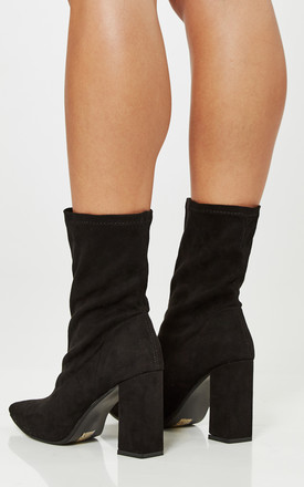 Black Faux Suede Block Heel Sock Boots by Truffle Collection