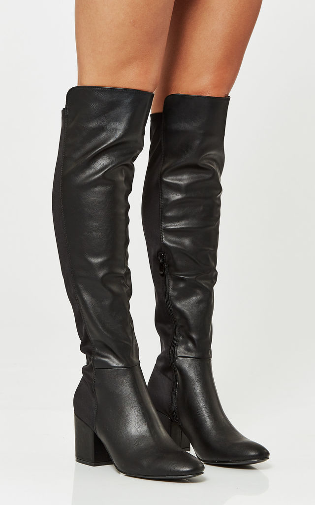 Black Lycra Over The Knee Heeled Boots by Truffle Collection