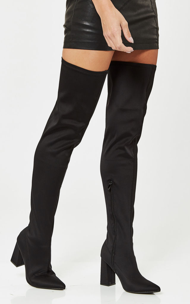 Black Lycra Thigh High Block Heeled Boots by Truffle Collection