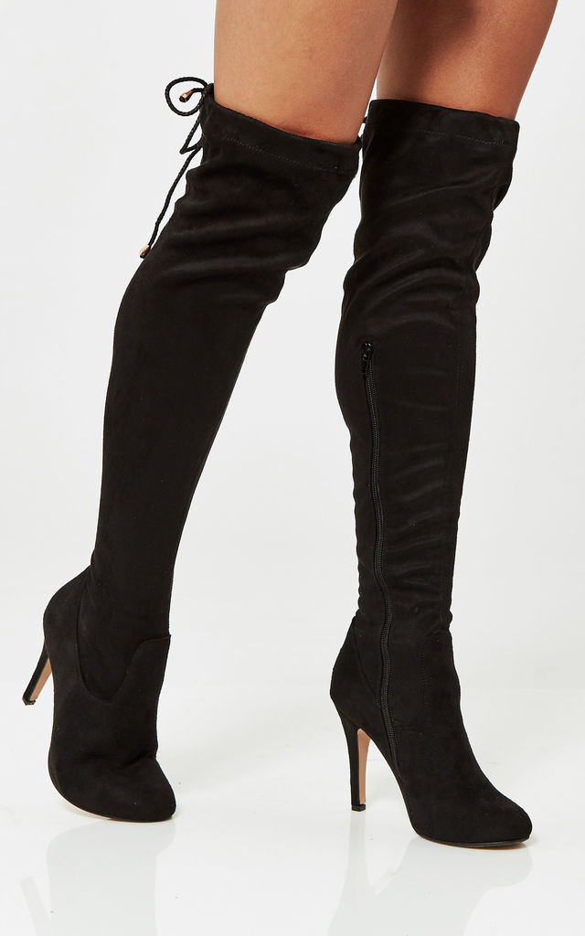 Black Faux Suede Over The Knee Stiletto Heeled Boots by Truffle Collection