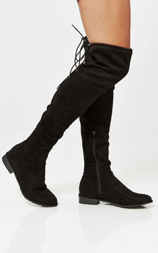 Black Faux Suede Flat Over The Knee Boots With Tie Detail by Truffle Collection