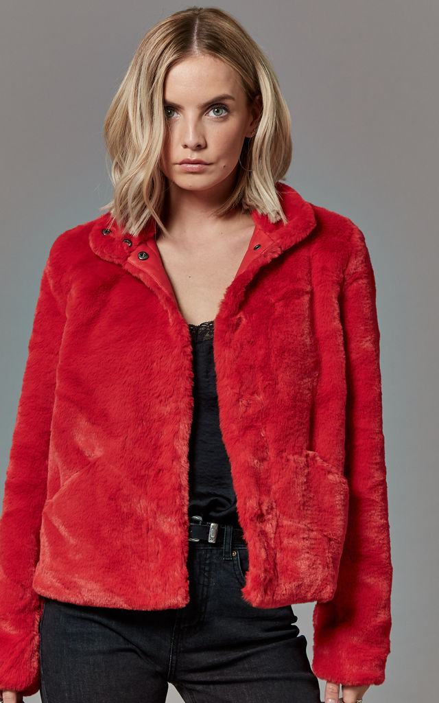 Berry Faux Fur Jacket by ONLY