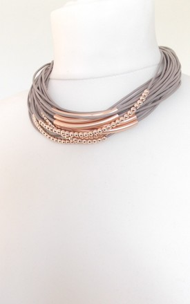 Taupe and Rose Gold Layered Statement Necklace by Olivia Divine Jewellery