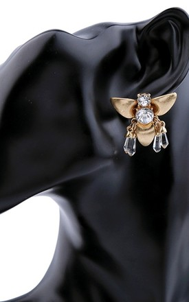 Gold and Crystal Bee Earrings by Olivia Divine Jewellery