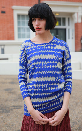 Longline Jumper in Blue and Gold Zigzag Stripe by CY Boutique