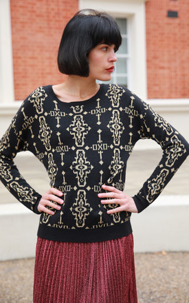 Long Sleeve Jumper with Metallic Gold Design in Black by CY Boutique