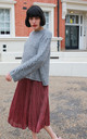 Mohair Blend Jumper with Wide Lace Up Cut Out Sleeves in Light Grey by CY Boutique