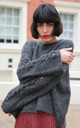 Mohair Blend Jumper with Wide Lace Up Cut Out Sleeves in Dark Grey by CY Boutique