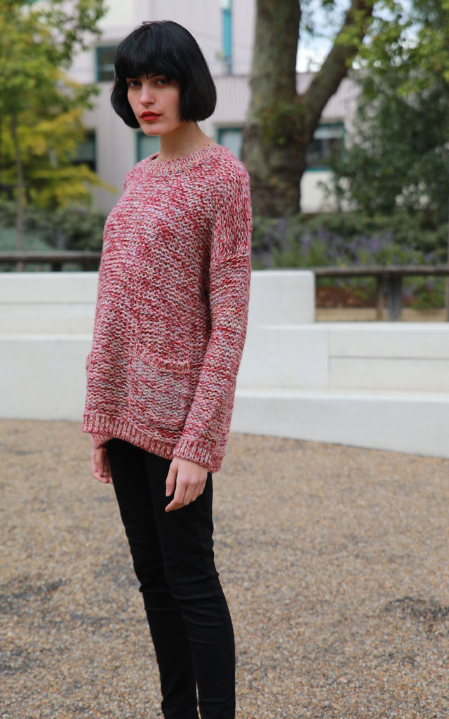Long Sleeve Jumper with Metallic Gold Trim in Burgundy by CY Boutique