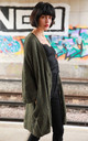 Longline Knitted Cardigan with Pockets in Green by CY Boutique