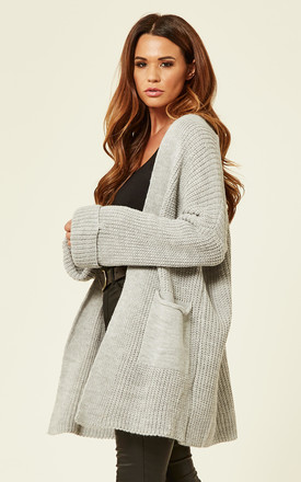 Chunky Long Warm Cardigan Jumper In Light Grey With Pockets by Love Product photo